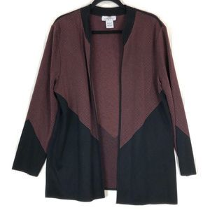 Ming Wang red black open front sweater L